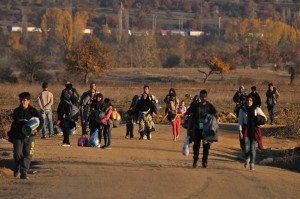 Refugees on their way to Presevo