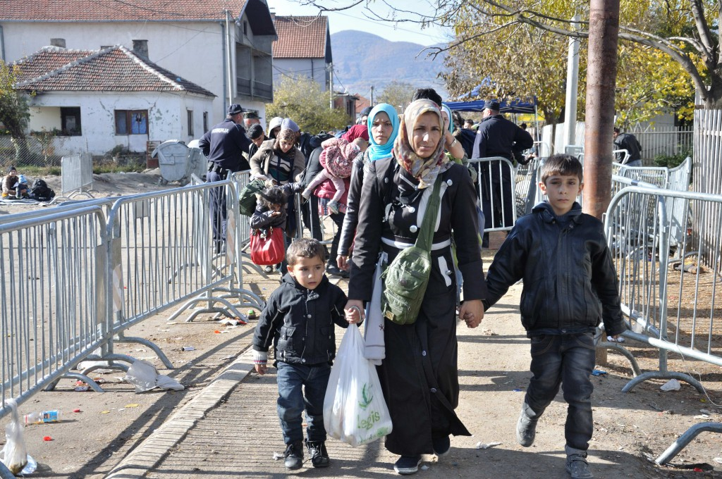 Refugees entering the registration camp