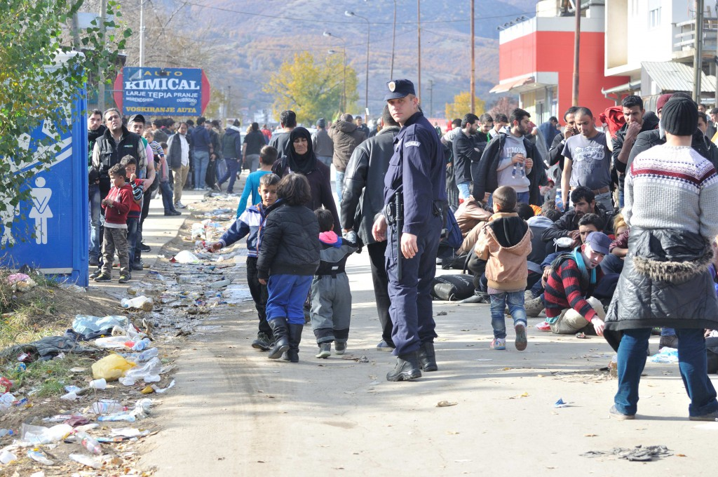 Long line of refugees waiting for registration at the refugee camp in Presevo