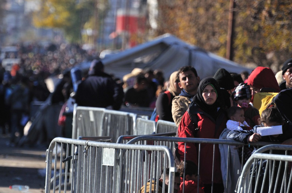 Refugees waiting in line