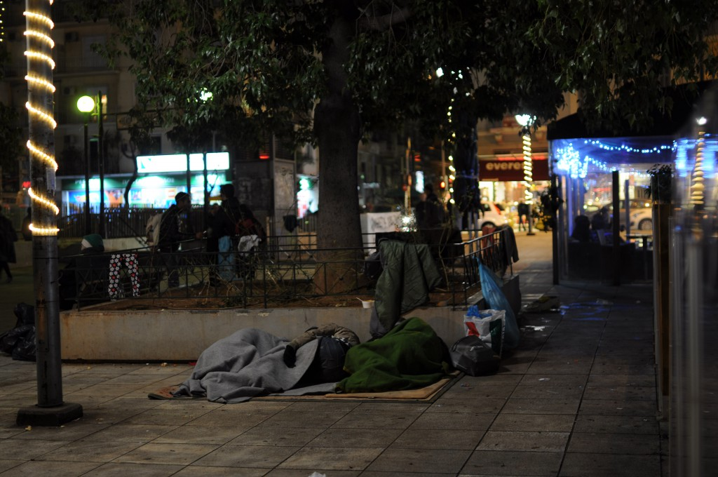 Refugees sleeping on Victoria square in Athens